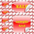 Red sale stickers and seamless pattern
