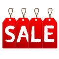 Red sale tags on a white background Royalty Free Stock Photos