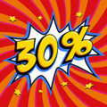 Red sale web banner. Pop art comic sale discount promotion banner. Big sale background. Sale thirty percent 30 off on a
