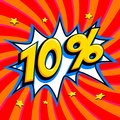 Red sale web banner. Sale ten percent 10 off on a Comics pop-art style bang shape on red twisted background. Big sale