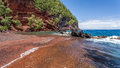 Red sand Beach at Kaihalulu Bay Royalty Free Stock Photo