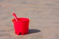 Red Sand Bucket And Shovel Royalty Free Stock Photography
