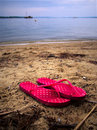 Red Sandals At The Beach Royalty Free Stock Photo