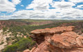 Red sandstone cliff in kalbarri scenic landscape views of national park with cliffs overlooking the dry murchison river gorge with Royalty Free Stock Photography