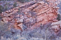 Red sandstone strata at zion s national park in the winter with cool striations Stock Photo