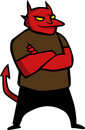 Red satan cartoon style illustrated Royalty Free Stock Photo