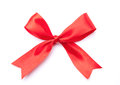 Red satin gift bow ribbon on white Royalty Free Stock Photo