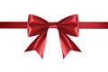 Red satin ribbon with bow isolated on white background Royalty Free Stock Image