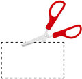 Red scissors cut out coupon on dotted line Royalty Free Stock Photo