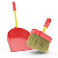 Red scoop and broom Royalty Free Stock Image