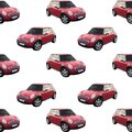Red seamless mini cooper pattern, vector illustration Royalty Free Stock Photo