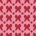 Red seamless pattern with butterfly dragonfly with hearts on wings. Endless print with different insects and flowers for wrapping