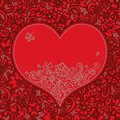 Red seamless pattern with heart. Royalty Free Stock Photo