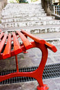 Red Seat And White Stairs Stock Photography