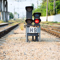 Red semaphore on railway Royalty Free Stock Photo