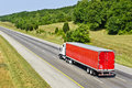 Red Semi Truck On Interstate Highway Royalty Free Stock Photo