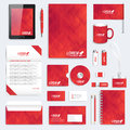 Red set of vector corporate identity template. Modern business stationery mock-up. Background with red triangles Royalty Free Stock Photo