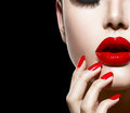 Red Sexy Lips and Nails Stock Photography