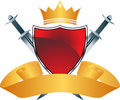 Red Shield with Crown Royalty Free Stock Photo