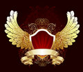 Red shield with golden wings Royalty Free Stock Photo
