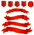 Red shields and ribbons Royalty Free Stock Photo