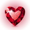 Red shining ruby heart shape on white background Royalty Free Stock Photo