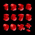 Red shiny 3d thick numbers isolated font on black Royalty Free Stock Photo