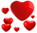 Red shiny hearts Royalty Free Stock Photography
