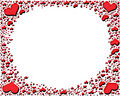 Red shiny  hearts frame Stock Images