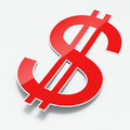 Red shiny paper dollar sign Stock Photo