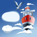 Red ship in the sea, clouds and seagull Royalty Free Stock Photo