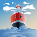 Red ship in the sea clouds and waves blue white Royalty Free Stock Photo