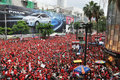 Red-Shirt Protest in Bangkok Stock Images