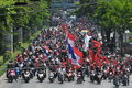 Red shirt protest a convey of protesters rally through central bangkok on their way to a outside the thai parliament on may in Royalty Free Stock Photography