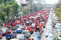 RED SHIRTS RATCHAPRASONG THAI Stock Photography
