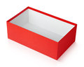 Red shoe box on white open with clipping path Royalty Free Stock Image