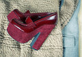 Red shoes and fashionable clothes Royalty Free Stock Photo
