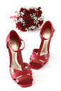Red shoes and flowers Royalty Free Stock Image