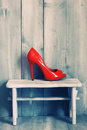 Red shoes retro photo of Royalty Free Stock Photography