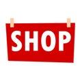 Red Shop Sign - illustration on white background