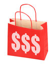 Red shopping bag with dollar sign Stock Photos