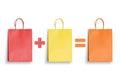 Red shopping bag plus yellow equal orange. Discount, saving, shopping gift promotion Royalty Free Stock Photo