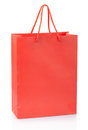 Red shopping bag on white clipping path included Royalty Free Stock Photos