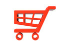 Red shopping cart icon on a white background Stock Photo