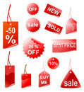 red shopping tags, vector Royalty Free Stock Photo