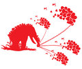 Red showers of love cute by an elephant Stock Image