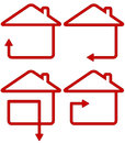 Red sign with home and move arrow isolated silhouette Stock Photography