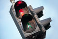 Red signal of pedestrian traffic light stop urban street Royalty Free Stock Photos