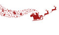 Red Silhouette. Santa claus flying with reindeer sleigh. Royalty Free Stock Photo