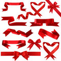 Red silk banner collection Royalty Free Stock Photos
